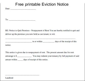 printable eviction notice free printable eviction notice template