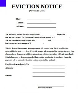 printable eviction notice printable eviction notice form