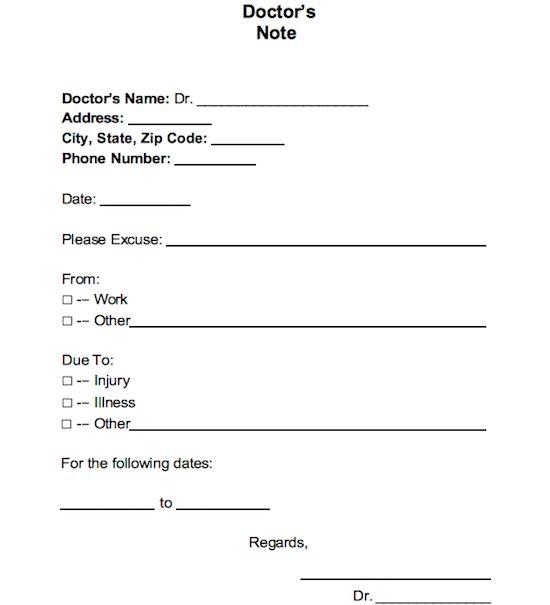 printable fake doctors notes free