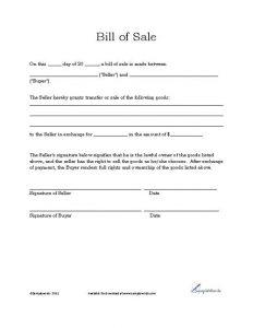 printable general bill of sale bill of sales template