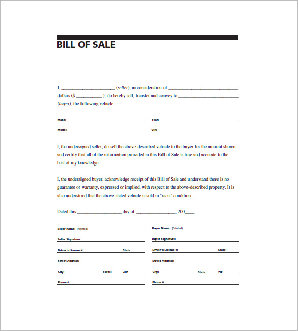 printable general bill of sale