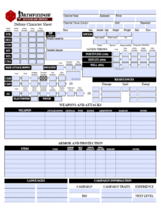 printable pathfinder character sheet character sheet preview large