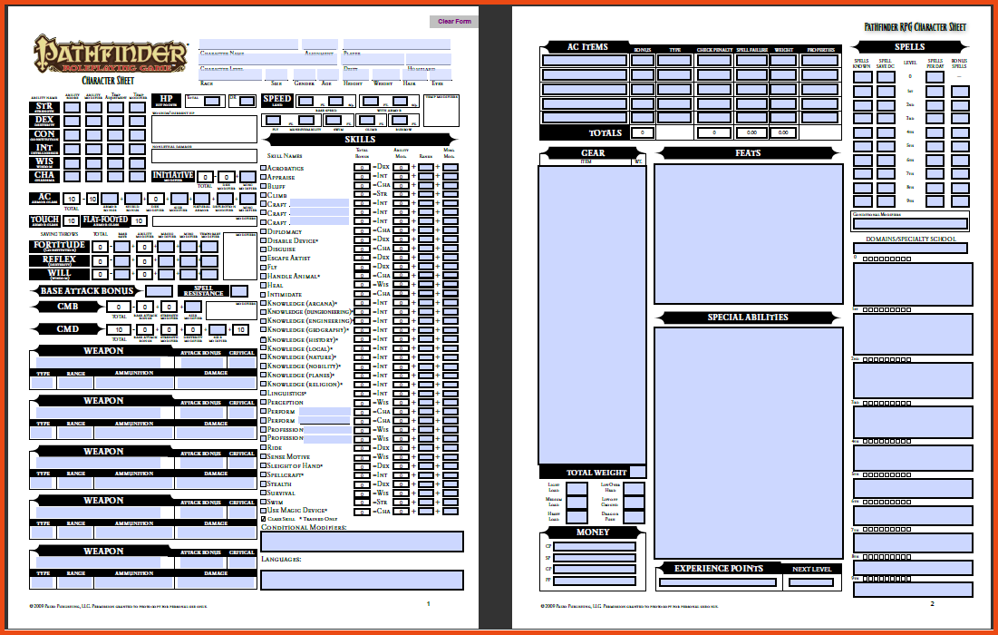 Printable Pathfinder Character Sheet | Template Business