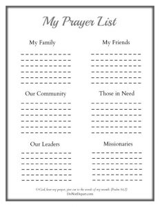 printable prayer list my prayer list x