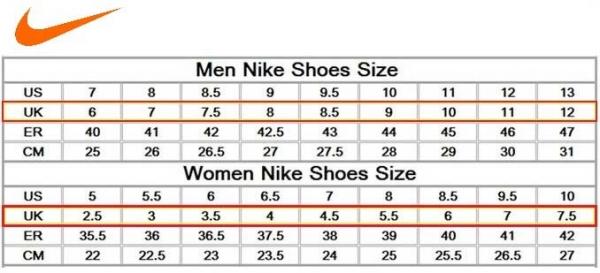 printable shoe size chart