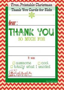 printable time card christmas thank you card