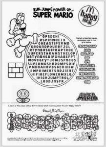 printable time sheet super mario word search