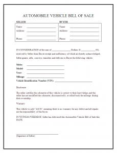 printable vehicle bill of sale auto bill of sale