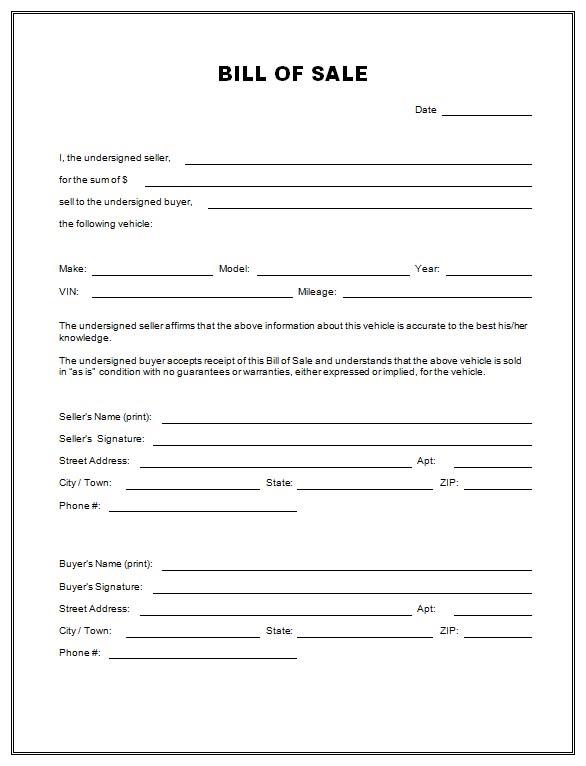 printable vehicle bill of sale