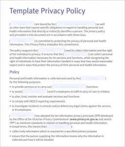 privacy policy example sample privacy policy