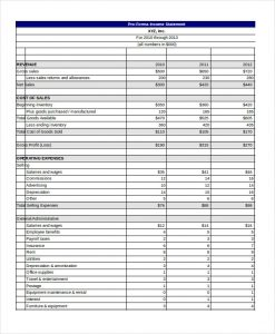 pro forma income statement template pro forma income statement template excel