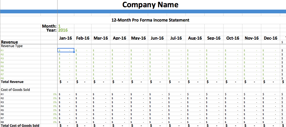 pro forma income statement template