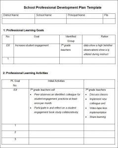 professional development plan template school professional development plan template