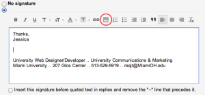 professional email signature student step