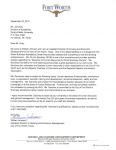 professional letter of recommendation di sanchez city of fort worth letter of recommendation
