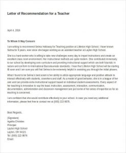 professional letter of recommendation professional letter of recommendation for a teacher