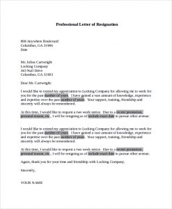 professional letter of resignation professional letter of resignation