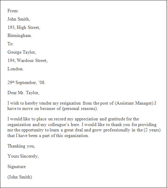 professional letter of resignation