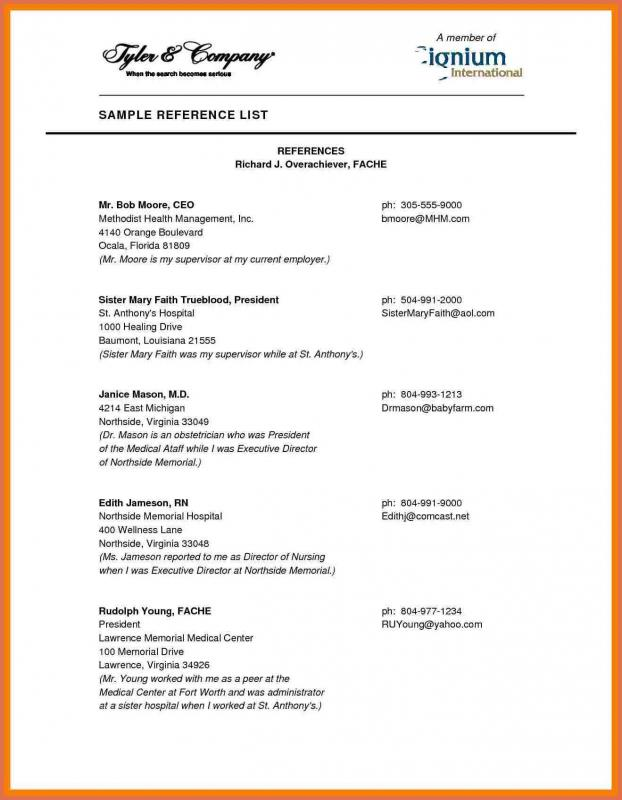 professional reference list template