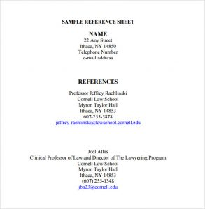 professional reference list template word sample reference sheet template