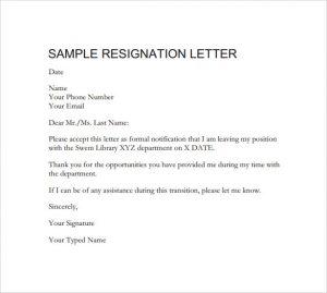 professional resignation letter sample downloadable formal resignation letter