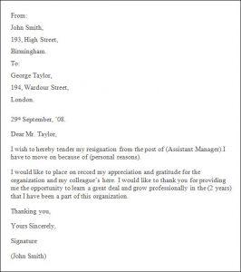 professional resignation letter sample professional resignation letter