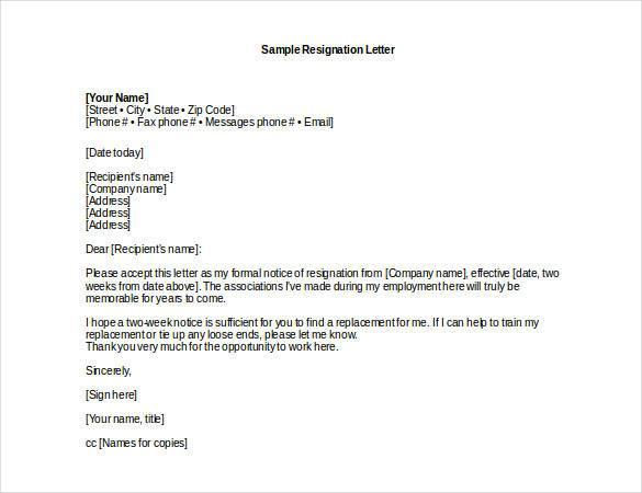 professional resignation letter sample