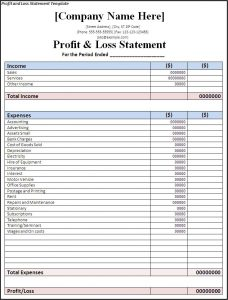 profit and loss statement form profit and loss statement template
