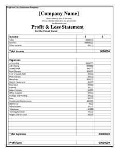 profit and loss statement pdf profit and loss statement template