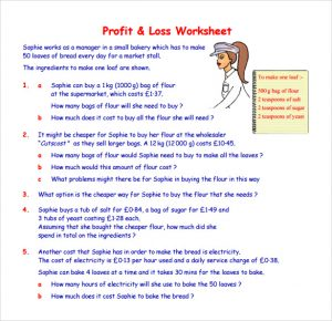 profit and loss statement self employed profit and loss worksheet template