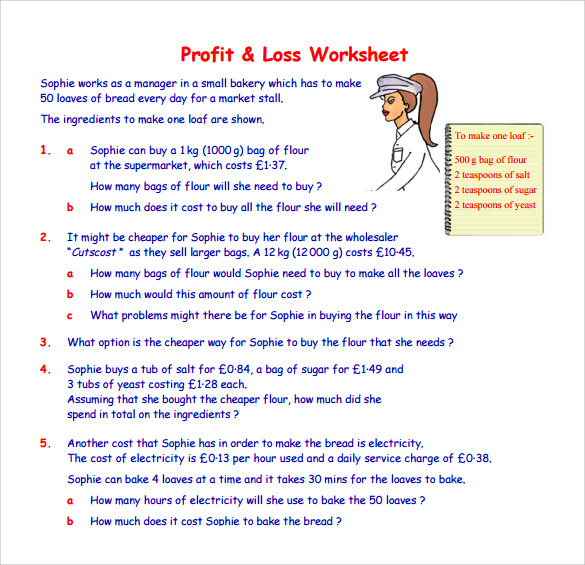 profit and loss statement self employed