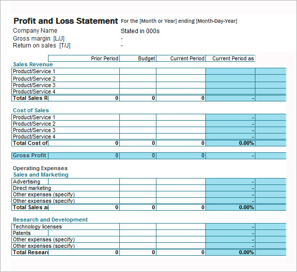 profit and loss template for self employed