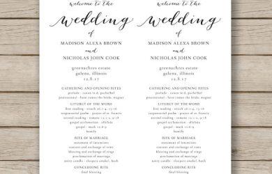 program template word print ready wedding program template download