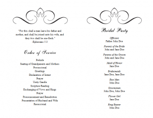 program template word wedding program templates word