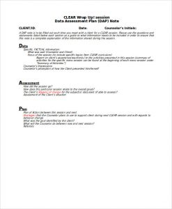 progress note template for mental health counselors dap notes