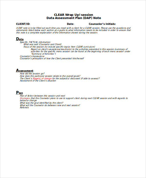 progress note template for mental health counselors