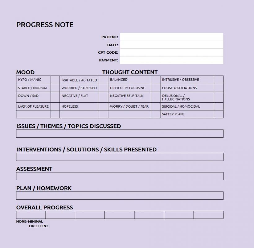progress note template