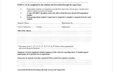 progress report example postgraduate progress report form