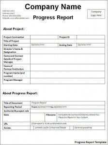 progress report format progress report template x