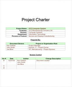 project charter template sample project charter template