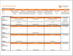 project list template content calendar and plan template