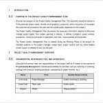 project management plan example project quality management plan word format free download