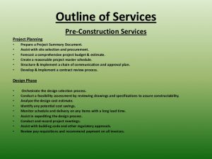 project plan outline cjm construction consulting presentation