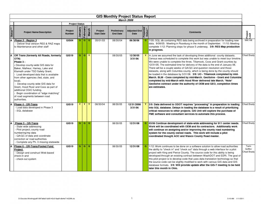 project progress report template