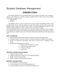 project report format academic project student database management synopsis
