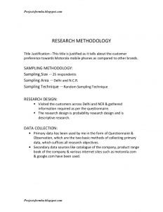 project report sample project report on brand preference of mobile phones with special reference to motorola phones