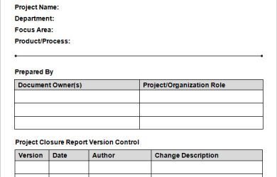 project report template download project closure report template in word