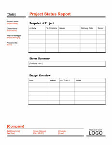 project report template project status report template