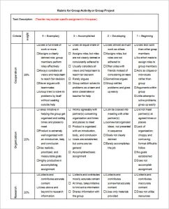 project rubric template group activity project rubric template ms word