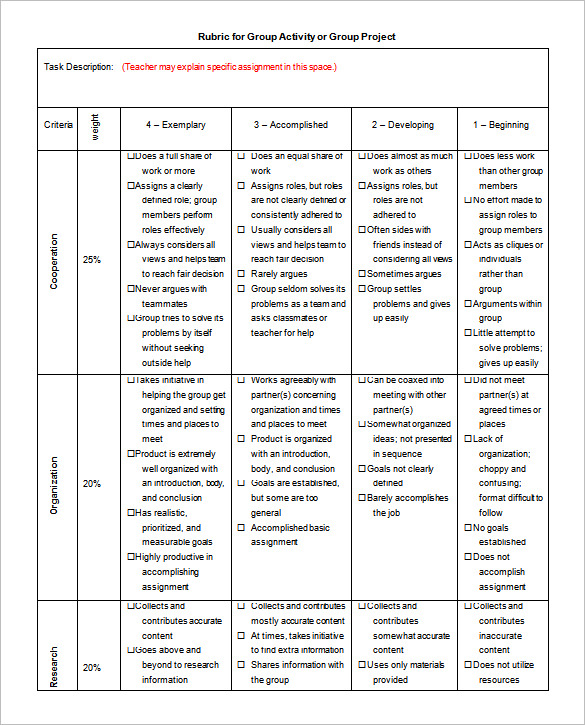 project rubric template